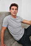 Gri Erkek Basic Pamuklu Kısa Kollu Slim Fit T-Shirt - TMNSS19BO0001