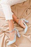 Kadın Bebe Mavisi Topuklu Süet Ayakkabı