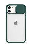 Iphone 11 Kamera Slayt Korumalı Yeşil Şeffaf Telefon Kılıfı