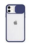 Iphone 11 Kamera Slayt Korumalı Lacivert Şeffaf Telefon Kılıfı