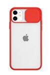 İphone 11 Kamera Slayt Korumalı Kırmızı Şeffaf Telefon Kılıfı