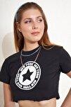 Yıldız Baskılı Crop T-shirt