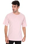 Düz Pembe Oversize Unisex T-shirt