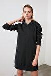 Antrasit Kapüşonlu Örme Sweat Elbise TWOAW20EL1554