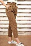 Kadın Toprak Paperbag Jeans Yüksek Bel Kot Pantolon
