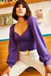 Kadın Mor Önü Büzgülü Balon Kol Bluz BLZ-19001084