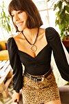 Kadın Siyah Önü Büzgülü Balon Kol Bluz BLZ-19001084