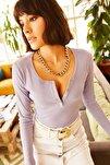 Kadın Lila Patlı Kaşkorse Bluz BLZ-19000588