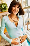 Kadın Mint Yeşili Patlı Kaşkorse Bluz BLZ-19000588