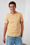 Bej Basıc Erkek T-Shirt - Pamuklu Kısa Kollu Bisiklet Yaka T-Shirt TMNSS19BO0001