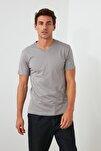 Gri Basıc Erkek T-Shirt - Pamuklu V Yaka T-Shirt TMNSS19BO0002