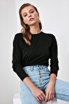 Siyah Uzun Kollu Bisiklet Yaka Basic Örme T-Shirt TWOAW21TS0098