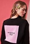 Siyah Ön ve Sırt Baskılı Basic Örme Sweatshirt TWOAW21SW0150