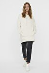 Kadın Ekru Kapüşonlu Oversize Sweatshirt 10235452 VMMARISA