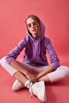 Lila Kapüşonlu Basic Örme Sweatshirt TWOAW20SW0059