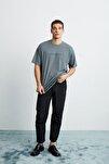 FRANK Erkek Gri Önü Baskılı Kısa Kollu Oversize Bisiklet Yaka T-Shirt
