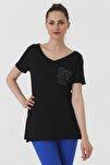 Kadın Siyah T-shirt 7090