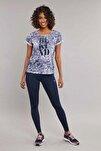 Lacivert Pamuk/Poly Kadın T-Shirt ES-3592
