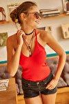 Kadın Kırmızı Sırtı Çapraz Polyamid Bluz BLZ-19000461