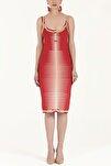 Kadın Desen Örgülü Kolsuz Triko Elbise Kırmızı 28027