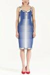Kadın Desen Örgülü Kolsuz Triko Elbise Mavi 28027