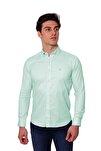 Uzun Kollu Kolu Katlanabilir Erkek Gömlek Mint/Aqua 1812077