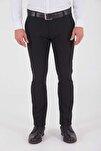 Desenli Slim Fit Siyah Pantolon 29262019A001