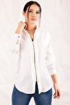 Kadın Beyaz Fermuarli Gömlek ARM-20K001149