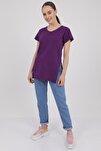 Kadın Mor V Yaka Yırtmaçlı Kısa Kol Pamuklu T-Shirt Mdt3025