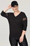 Büyük Beden Siyah Kadın Antrenman T-Shirt FS-1769