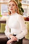Kadın Beyaz Yaka Detaylı Kolu Tül Bluz BLZ-19000661