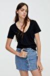 Kadın Siyah V Yaka Pamuklu T-Shirt 05234358