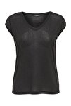 Kadın Siyah Kısa Kollu V Yaka T-Shirt 15136069 ONLSILVERY