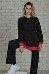 Kadın Nar Çiçeği Şeritli Tunik Takım