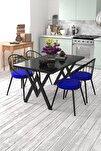 Eylül 4 Kişilik Mutfak Masası Takımı Siyah Mavi