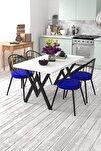 Eylül 4 Kişilik Mutfak Masası Takımı Beyaz Mavi