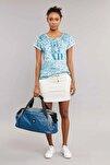Mavi Pamuk/Poly Kadın T-Shirt ES-3592