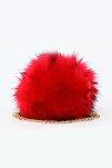 Kırmızı Kadın  Kürklü Çapraz Postacı Çantası 5033