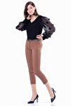 Kadın Karamel Dar Paça Kumaş  Pantolon 1581-891K
