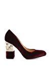 Hakiki Deri Bordo  Kadın Abiye Ayakkabı 22 2051 BN AYK