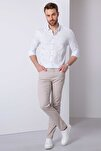Erkek Açık Gri Slim Fit Chino Pantolon