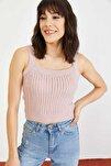 Kadın Pudra Saç Örgü Detay Askılı Bluz 10021043