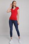 MD trend Kadın Kirmizi Ön Arka V Yaka T-Shirt Mdt3472
