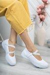 Kadın Beyaz Sneaker Rahat Taban Günlük Ayakkabı