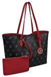 Kadın Desenli Tote Çanta Siyah, Kırmızı