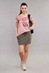 Pembe Pamuk/Poly Kadın T-Shirt ES-3592