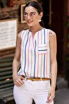 Kadın Gri Renkli Çizgili Cepli Kolsuz Bluz ARM-19Y001062