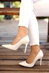 Beyaz Rugan Kadın Klasik Topuklu Ayakkabı A1770-17