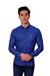 Uzun Kollu Kolu Katlanabilir Erkek Gömlek Sax/Royalblue 1812077