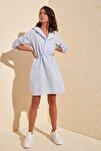 Mavi Kapüşonlu Elbise TWOAW20EL0080
